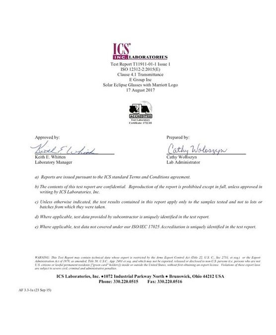 UPDATE ON BTC SOLAR GLASSES: Here is the appropriate documentation from the appr