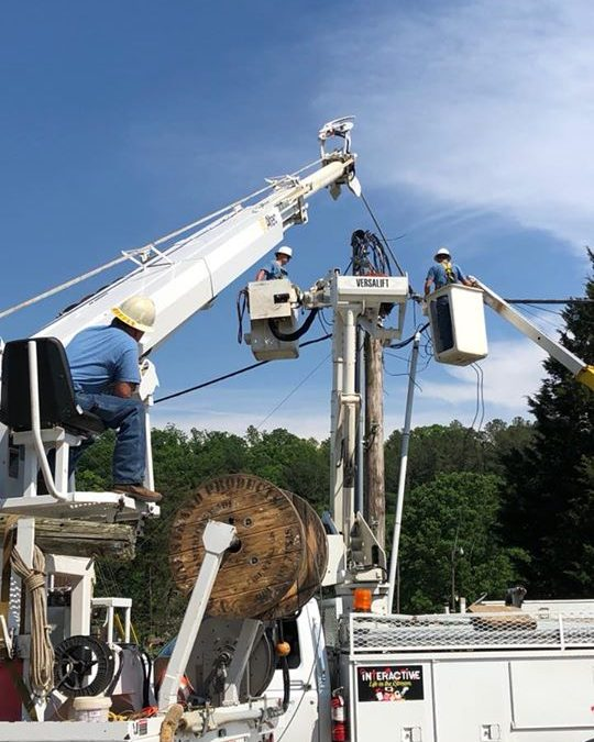 Our BTC crew is out working on the poles after the storm that came through earli