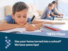 Image may contain: 1 person, sitting, possible text that says 'BTc Fiber Has your home turned into a school? We have some tips!'