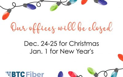 Our offices holiday closures will be Dec. 24-25 as well as Jan. 1.