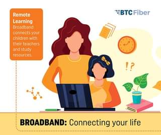 May be a cartoon of one or more people and text that says 'Remote Learning Broadband connects your children with their teachers and study resources. BTCFiber !? BROADBAND: Connecting your life'
