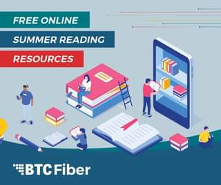May be a cartoon of text that says 'FREE ONLINE SUMMER READING RESOURCES K BTC BTCFiber'