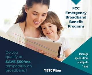 May be an image of 1 person, child and text that says 'FCC Emergency Broadband Benefit Program Doyou you qualify to SAVE $50/mo. mo. temporarily on broadband? Package speeds from 6 Mbpsto 1gig! BTc BTC Fiber'